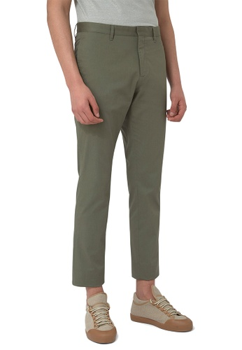 CERRUTI 1881 green STRAIGHT LEG COTTON ELASTANE TROUSERS 39779AAA06606EGS_1