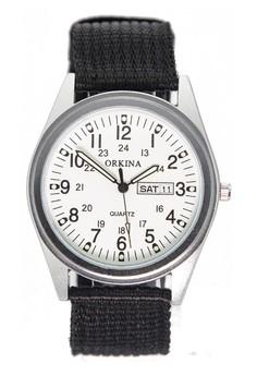 Orkina Date Display Nylon Strap Fashion Wrist Watch