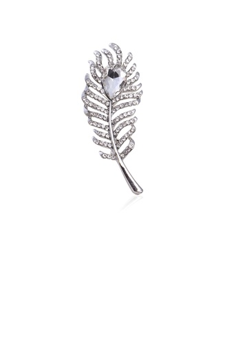 Glamorousky white Fashion Simple Leaf Brooch with Cubic Zirconia D9113ACEBC7DC9GS_1