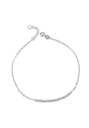 MaBelle silver 14K 585 White Gold Diamond Cut Beads Anklet 68B4BAC3E8043EGS_1