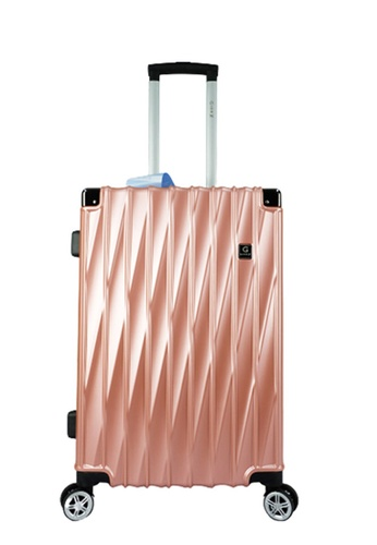 Poly-Pac pink and gold GiorX GXA2073 20inch ELEGANT Anti-theft / Scratch Expandable Hard Case Luggage BE623ACC61F228GS_1