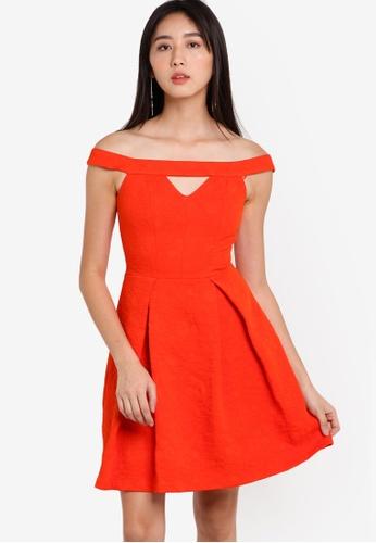 Miss Selfridge red Bardot Cut-Out Jacquard Dress MI665AA91RZWMY_1