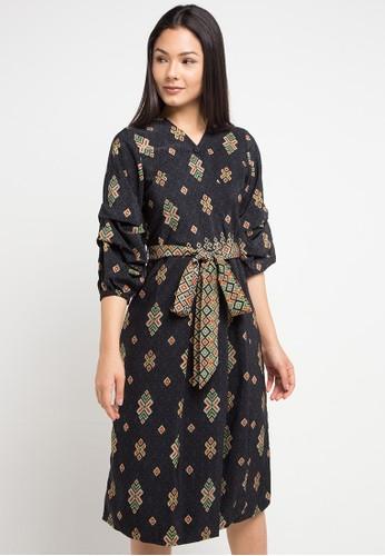 Anakara black and multi Puffy Dress Simply Songket A151AAA9ECC59BGS_1