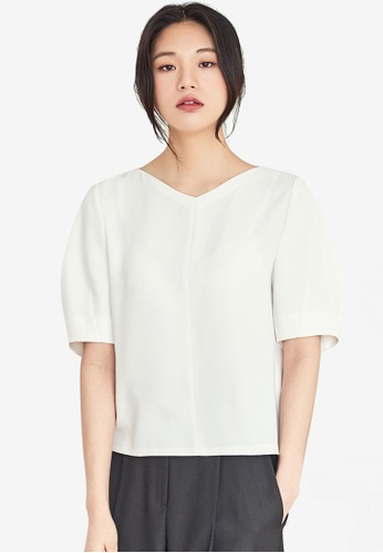NAIN white Structured Blouse 7871AAAED4ED9AGS_1