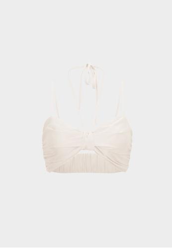 Pomelo beige Neck Tie Cropped Bralette - Cream 8D4DEAA1BD9EABGS_1