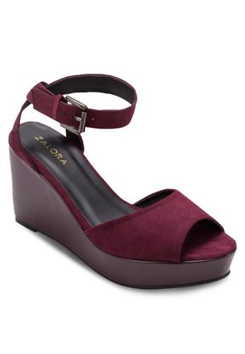 zalora 手錶露趾厚底楔形涼鞋, 女鞋, 鞋