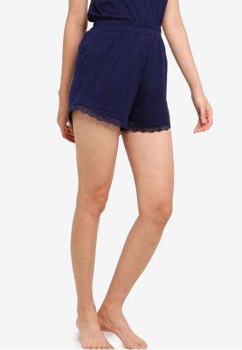 ZALORA BASICS navy Lounge Satin & Lace Pyjama Shorts 761A4AA676E5C9GS_1