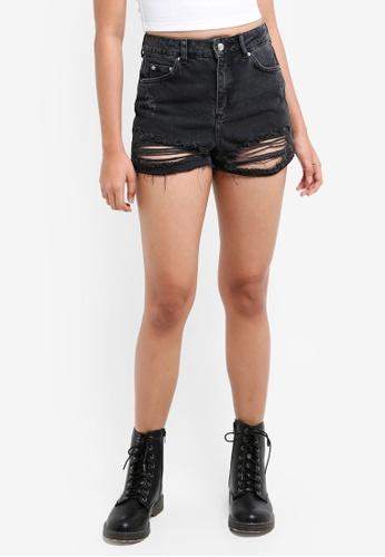 TOPSHOP black Petites Ripped Mom Shorts 8B9CEAA9EFF008GS_1