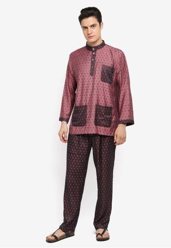 Mayasilk beige Baju Melayu SB Contrast Diamand Print 2C450AA0A5473EGS_1