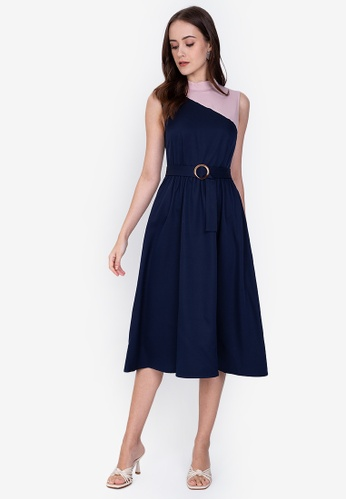 ZALORA WORK multi Colourblock Fit And Flare Dress A4D5BAA7DA9BE7GS_1