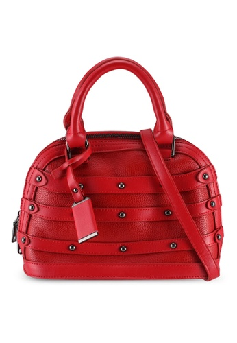 Unisa red Studded Shell Shape Top Handle Bag 7D863AC9D9F154GS_1
