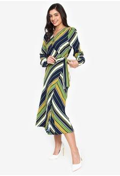 e67b9a8308c Wear Kris multi Knockout Stripe Wrap Midi Dress F2F5FAABBFDA64GS 1