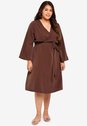 ELVI brown Plus Size Chasse Bodice Wrap Detail Dress 9EBE4AAA468A76GS_1