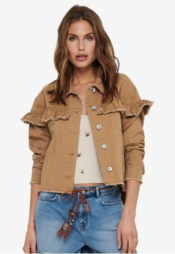 ONLY brown Elena Frill Jacket BDDFDAABD272C3GS_1