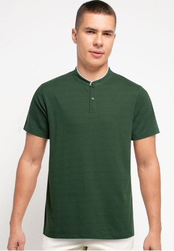 Tolliver green Contrast Neck Detail Polo Shirt 0F061AA70A7F7DGS_1