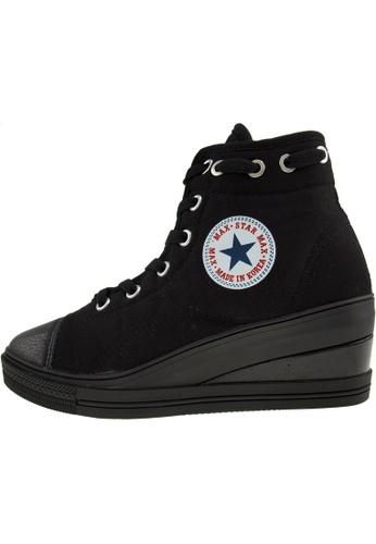 Maxstar 黑色 新款韩国鞋7H-Zip-020時尚帆布布混合女黑色 US Women Size MA345SH11HEITW_1