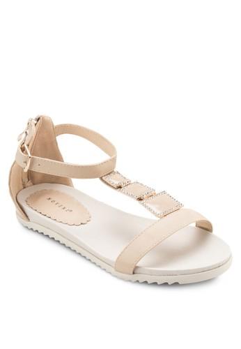 T esprit 會員字帶閃鑽平底涼鞋, 韓系時尚, 梳妝