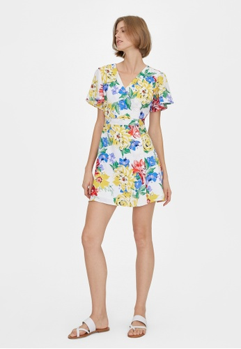 Pomelo white Side Button Up Floral Dress - White 4DB5BAA6D04561GS_1