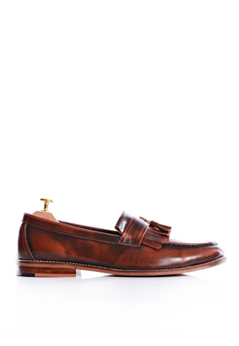 Zeve Shoes brown Zeve Shoes Fringe Loafer - Tan Polished Leather 974B1SH70B03EFGS_1