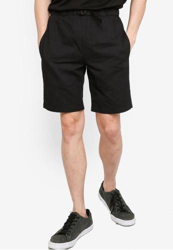 ZALORA BASICS black Waist Buckle Shorts E53A1AA9E5ED57GS_1