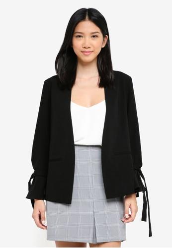 ZALORA black Casual Tie Sleeve Blazer 10108AA6685FADGS_1