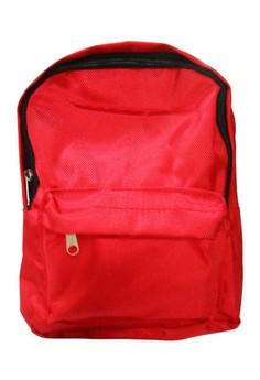 Plain Unisex Canvas School Bag BackPack BP-89 (Red)