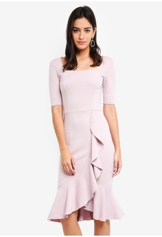 64617ad118ab5 MDSCollections pink Madeline Ruffled-Hem Dress In Dusty Pink  A039DAA95B6488GS 1