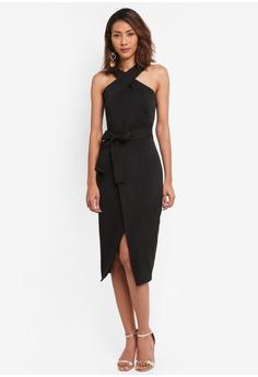 Lavish Alice black Halter Neck Wrap Front Midi Dress LA457AA0SSQEMY_1