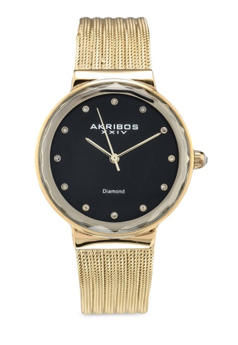 Akribos XXIV gold Diamond Mesh Watch 54118ACE9CFC45GS_1