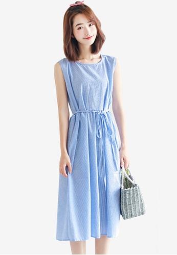 Shopsfashion blue Basic Sleeveless Midi Dress 0BB55AA11794F0GS_1
