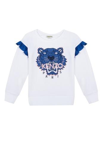 KENZO KIDS white and blue KENZO TIGER GIRLS SWEATSHIRT 53633KAFB9B65DGS_1
