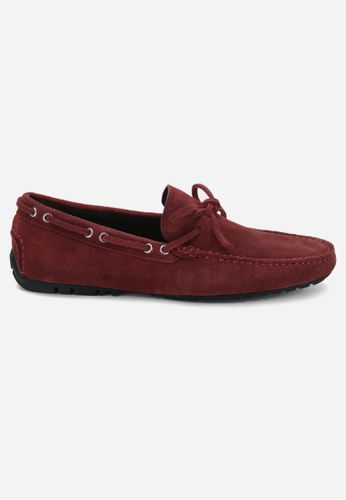 Earnest & Collective red Parker Garnet Suede Driving Loafers 75B59SHFD3DF08GS_1