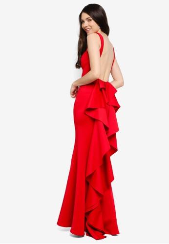 Goddiva red Open Back Waterfall Maxi Dress D158AAA3835F0BGS_1