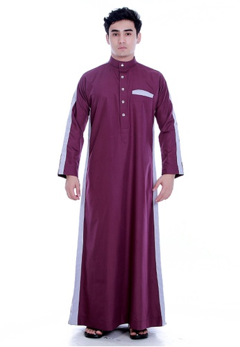 Amar Amran grey and red Jubah Alif For Men AM362AA93CLMMY_1