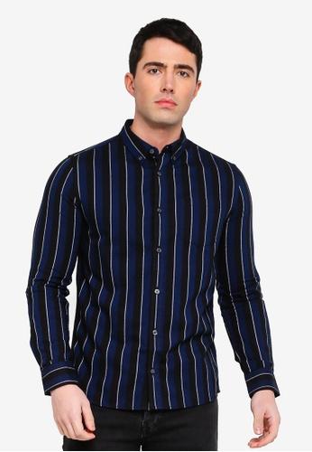 Burton Menswear London navy Navy Long Sleeve Striped Oxford Shirt 6AFA4AA765F406GS_1