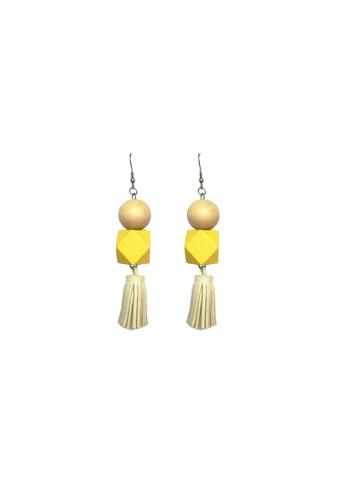 La Miina yellow Carlota Yellow wood tassel earrings DF51EACFD1B28DGS_1