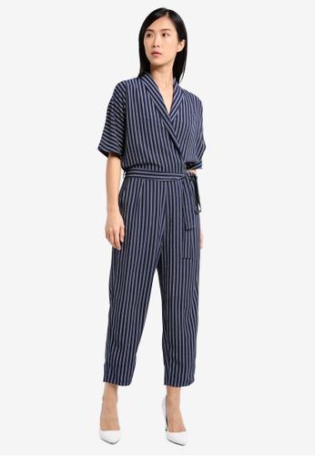 ZALORA navy Kimono Sleeve Wrap Jumpsuit 1BBFCAAA159258GS_1