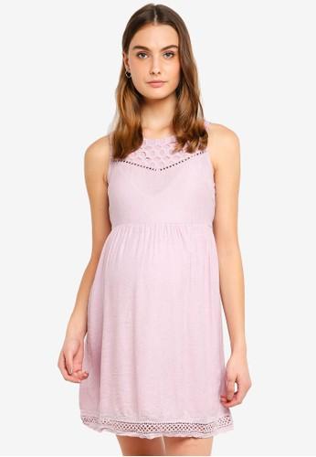 Spring Maternity pink Maternity Sleeveless Charee Sweet Heart Dress 0AC58AA82C1281GS_1
