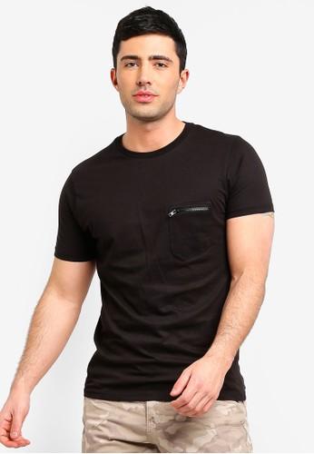 Brave Soul black Zip Pocket T-Shirt CAE7CAAE97ADB1GS_1