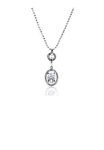 Glamorousky silver Silver Oval Shape Czech Crystal Bead Pendant with Austrian Element Crystals and Necklace 22510AC915D482GS_1