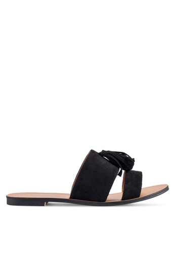ZALORA black Double Strap Sliders With Tassels CE1CESHEF83F73GS_1