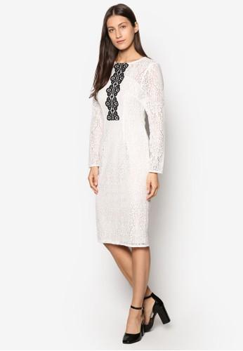 蕾esprit home 台灣絲拼接鉛筆連身裙, 服飾, 洋裝