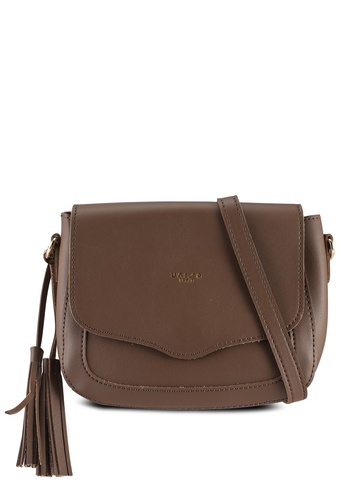 Unisa brown Faux Leather Sling Bag With Tassel 8979DAC4791A45GS_1