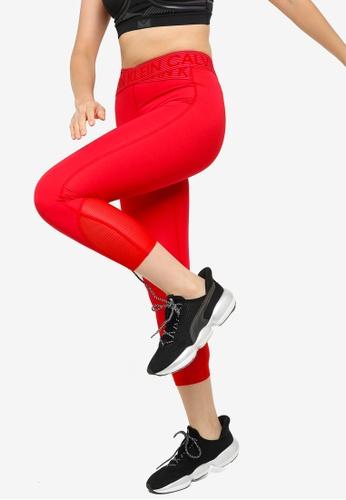 Calvin Klein red Active Icon Cropped Leggings With Logo Tape 62DA9AA762E536GS_1