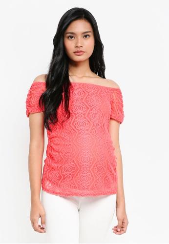 Dorothy Perkins pink Maternity Coral Lace Bardot Top 1A9D9AAD54806BGS_1
