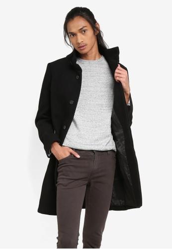 MANGO Man black Wool Funnel Neck Coat AC530AADA5A1C4GS_1