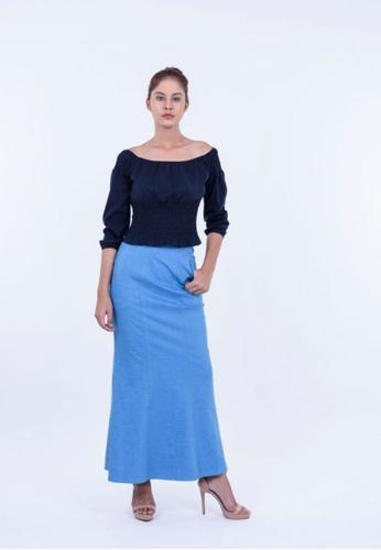 Ladies Jeans blue Formal Office Long Skirt 00E69AA64FB486GS_1