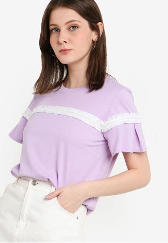 ZALORA purple Trim Tee With Pleated Sleeves 2D69BAA7D99061GS_1