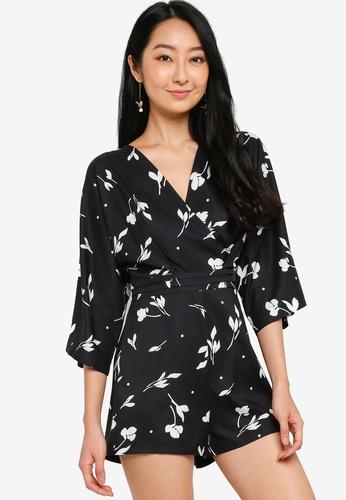 ZALORA BASICS black Kimono Sleeve Playsuit 50928AAE7ADA73GS_1