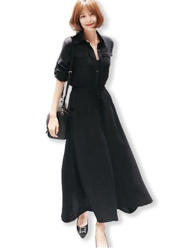 Sunnydaysweety black Black Maxi Shirt Dress UA091912 SU219AA0FUYCSG_1